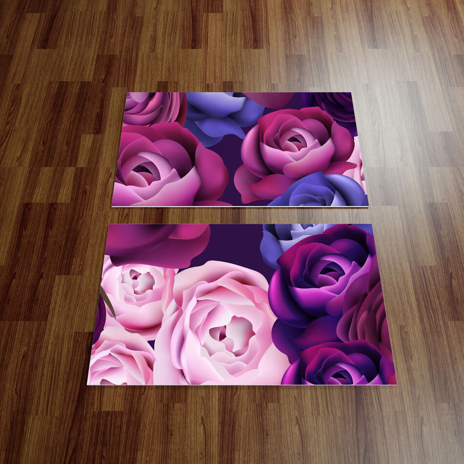 הדמיה מדבקת רצפה פרחים